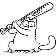 Наклейка Кот Саймона с битой, фото 1
