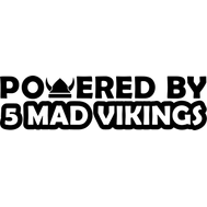 Наклейка Powered by 5 mad vikings, фото 1