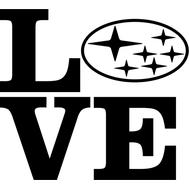 Наклейка Love Subaru, фото 1