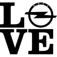 Наклейка Love Opel, фото 1