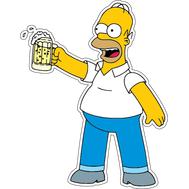 Наклейка Гомер Симпсон с бокалом, фото 1