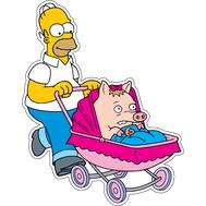 Наклейка Гомер Симпсон с коляской, фото 1