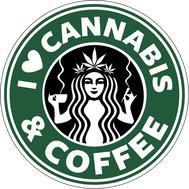 Наклейка I love cannabis, фото 1