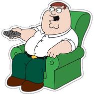 Наклейка Питер Гриффин в кресле с пультом, фото 1