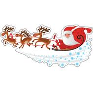 Наклейка Дед Мороз на санях, фото 1