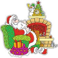 Наклейка Дед Мороз у камина, фото 1