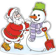 Наклейка Дед Мороз и Снеговик, фото 1