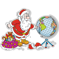 Наклейка Дед Мороз и глобус, фото 1