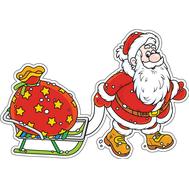 Наклейка Дед Мороз и сани, фото 1