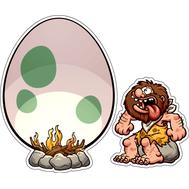 Наклейка Пещерный человек жарит яйцо, фото 1
