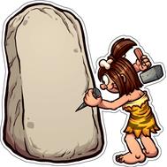 Наклейка Пещерный человек и камень, фото 1