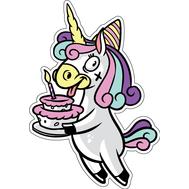 Наклейка Единорог с тортиком, фото 1