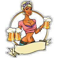 Наклейка Девушка с пивом, фото 1