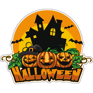 Наклейка Halloween Замок на фоне луны, фото 1