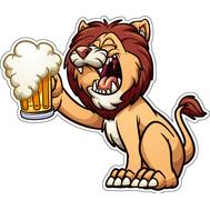 Наклейка Лев с пивом, фото 1