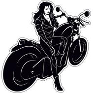 Наклейка Девушка сидит на мотоцикле, фото 1