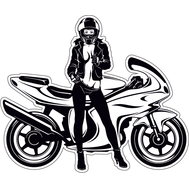 Наклейка Девушка позурует рядом с мотоциклом, фото 1