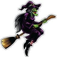 Наклейка Старуха Ведьма на метле, фото 1