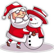 Наклейка Санта и снеговик, фото 1