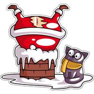 Наклейка Санта застрял в трубе, фото 1