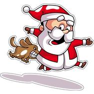 Наклейка Санта убегает от собаки, фото 1