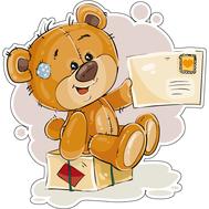 Наклейка Мишка Тедди сидит на коробке с конвертом, фото 1