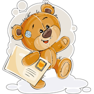 Наклейка Мишка Тедди несет письмо, фото 1