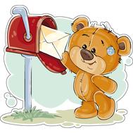 Наклейка Мишка Тедди забирает письмо из почтового ящика, фото 1