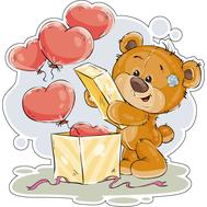 Наклейка Мишка Тедди и коробка с шарами, фото 1
