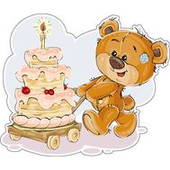 Наклейка Мишка Тедди и большой торт, фото 1
