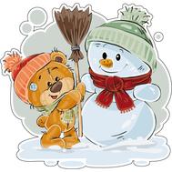 Наклейка Мишка Тедди и Снеговик, фото 1
