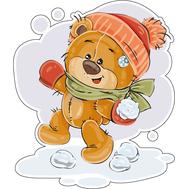 Наклейка Мишка Тедди играет в снежки, фото 1