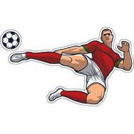 Наклейка Игрок в красно-белой форме отбивает мяч, фото 1