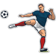 Наклейка Игрок в сине-белой форме дает пас, фото 1