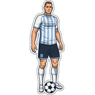 Наклейка Игрок в бело-голубой полосатой форме, фото 1