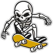 Наклейка скелет прыгает на скейте, фото 1