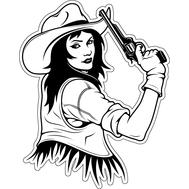 Наклейка Девушка ковбой с пистолетом, фото 1