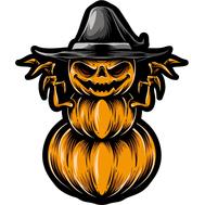 Наклейка Тыква в шляпе и страшными когтями, фото 1