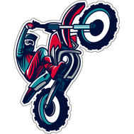 Наклейка байкер на красном мотоцикле, фото 1