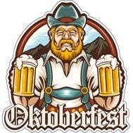 Наклейка Бородатый Баварец с двумя кружками пива, фото 1