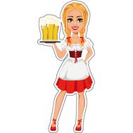Наклейка Девушка с пивом на подносе, фото 1