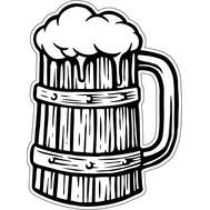 Наклейка Деревянная кружка пива, фото 1