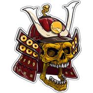 Наклейка Череп самурая в шлеме, фото 1