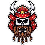 Наклейка Бородатый череп самурая в красном шлеме, фото 1