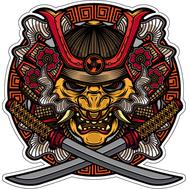 Наклейка Маска самурая и два меча, фото 1