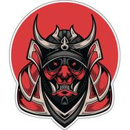 Наклейка Красная маска самурая, фото 1