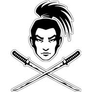 Наклейка голова самурая и два меча, фото 1