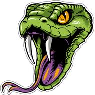 Наклейка Голова зеленой змеи, фото 1