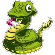 Наклейка Зеленый змей показывает язык, фото 1