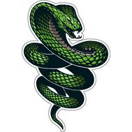Наклейка Зеленая кобра извивается, фото 1